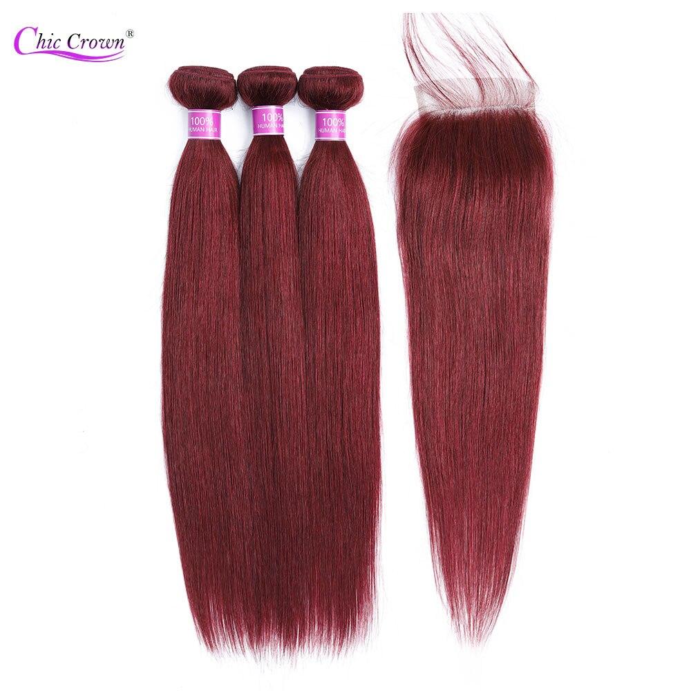 99J Bundles With Closure Pre Colored Red Bundles Peruvian Human Hair Bungundy Bundles With Closure Cheveux Humain Chic Crown