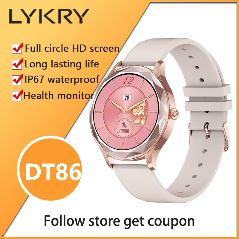 lykry-dt86-smart-watch-1-09inch-screen-ip67waterproof-long-standby-womens-watches-men-blood-pressure-for-android-ios-for-couple