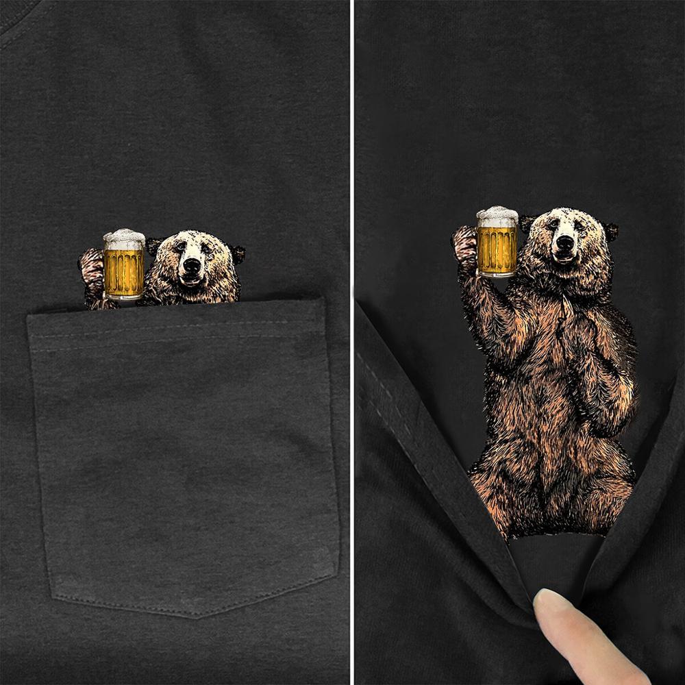 Drink Bear en bolsillo camiseta amantes de los perros negro algodón hombres hecho en ee.uu. Cartoon camiseta hombres Unisex nueva moda Camiseta estilo-3