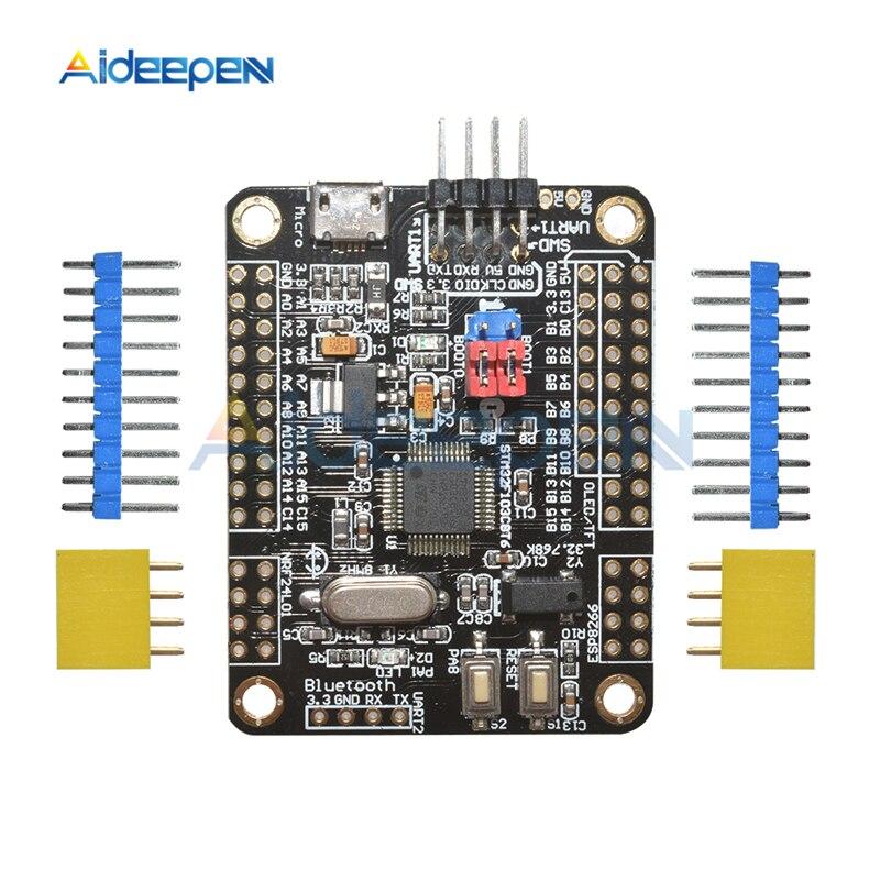 DC 5V STM32F103C8T6 bras Mini carte de développement de système STM32 carte de développement de base WIFI ESP8266/NRF24L01/WS1053 W5500 Interface