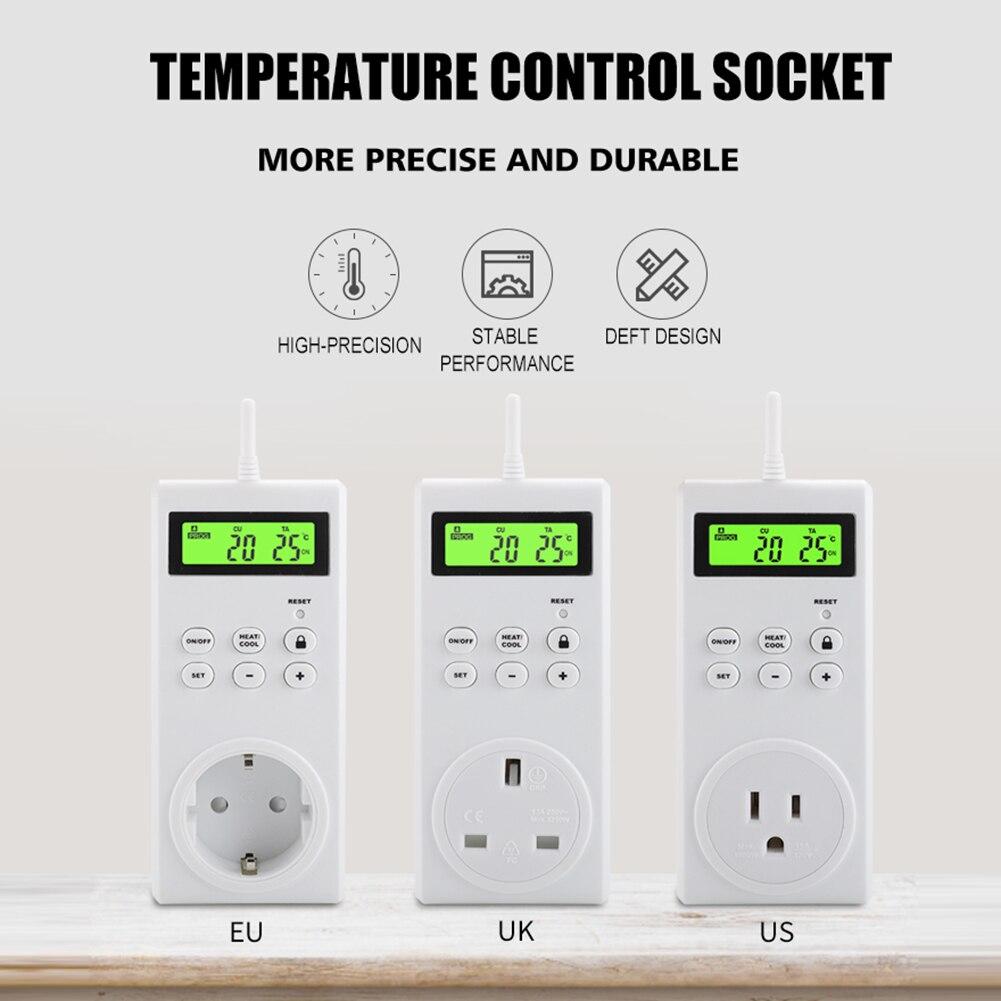للبرمجة اللاسلكية ترموستات التبديل غرفة المنزل الذكي LCD الرقمية متحكم في درجة الحرارة المقبس المخرج مع الاستشعار التحقيق
