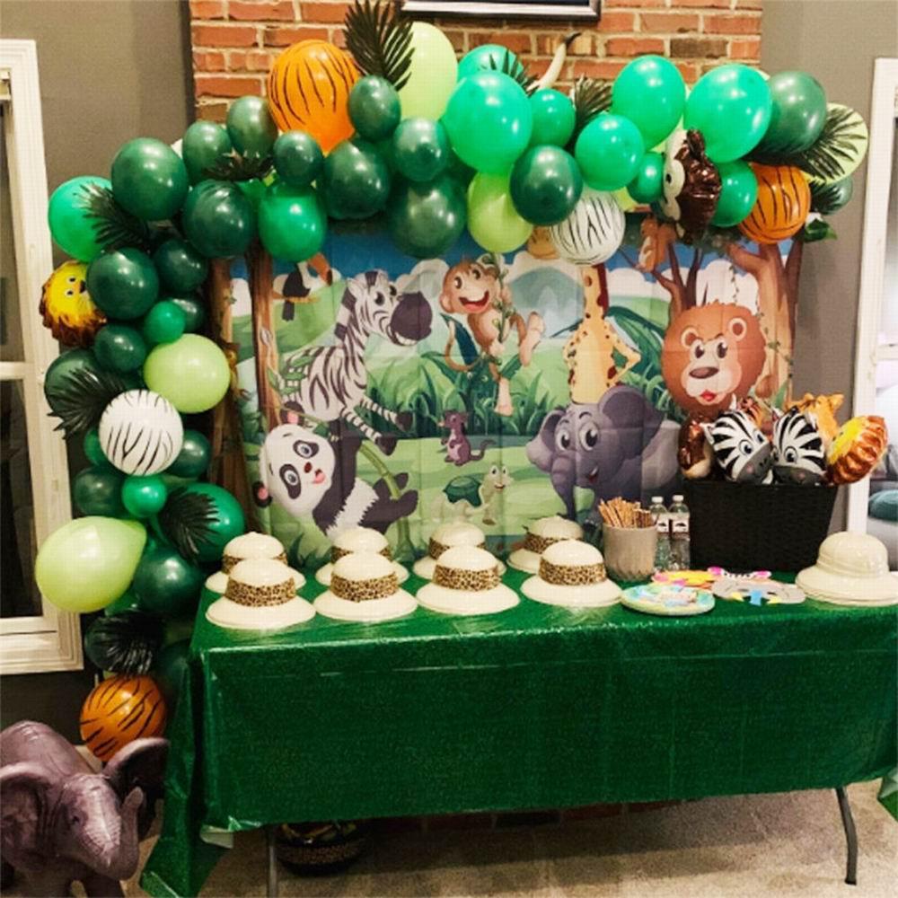 Купить с кэшбэком 106pcs Animal Balloons Garland Kit Jungle Safari Theme Party Supplies Favors Kids Boys Birthday Party Baby Shower Decorations