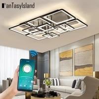 black modern led chandelier ceiling lights for home living room decoration kitchen remote app chandelier ceiling indoor lighting