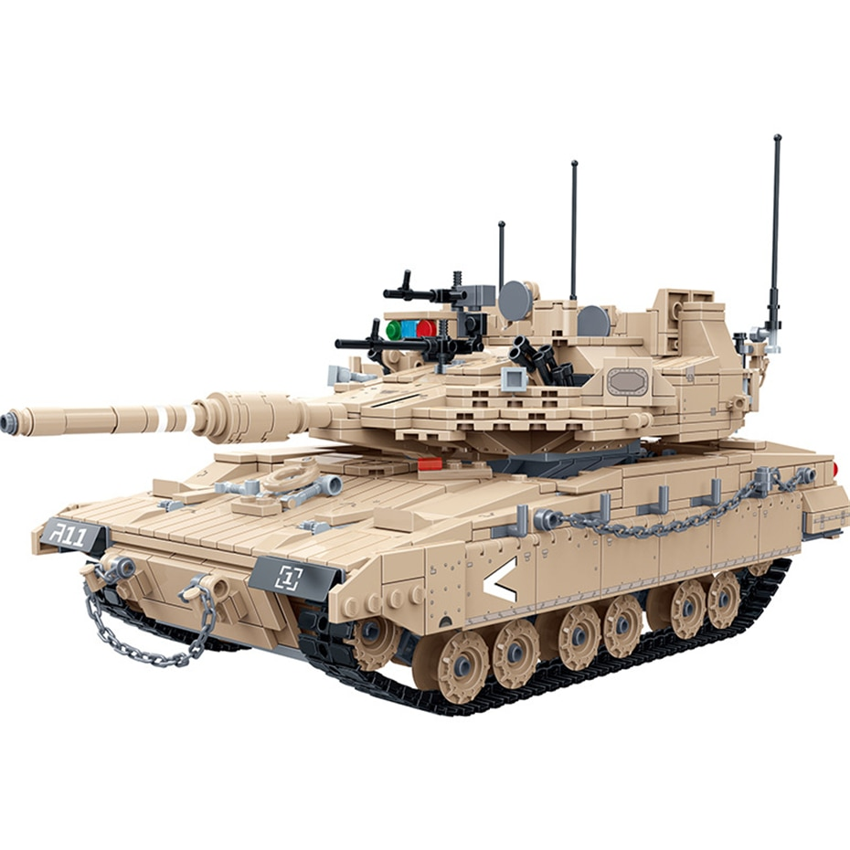 MEOA New Military Bricks Series 1540pcs 1:28 Merkava MK4 Main Battle Tank Building Blocks Construction Tank Model Kits Boy Toys xingbao technic new military series 06033 the uk challenger2 main battle tank model blocks bricks toys figure christmas gifts