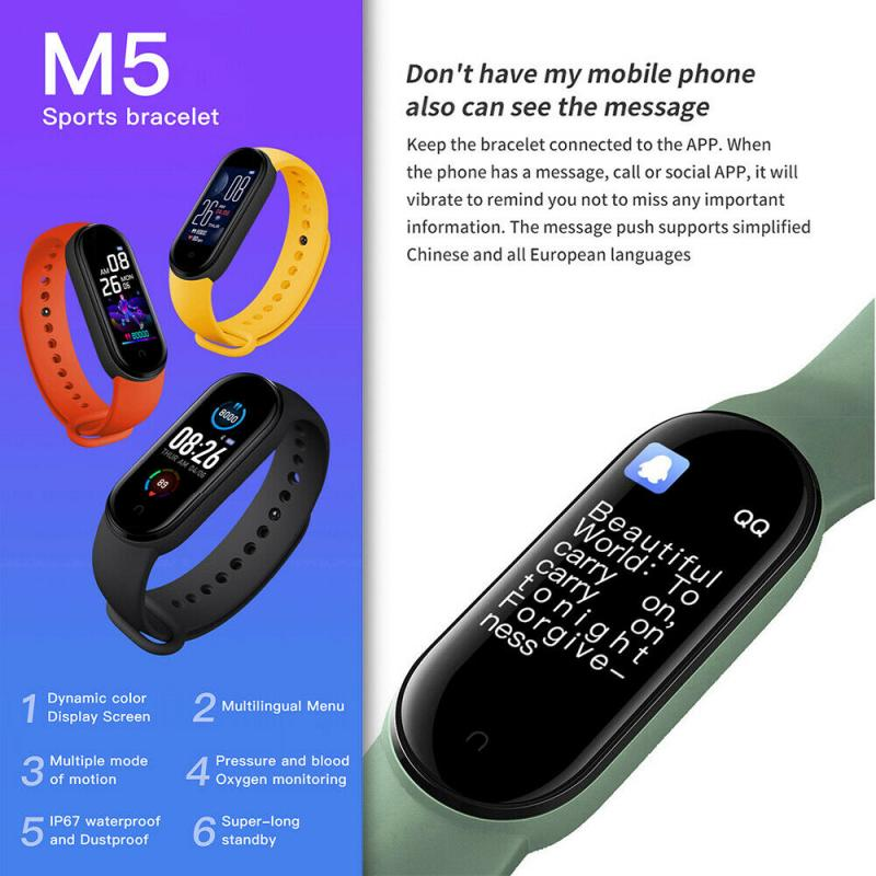 M5 Smartband Fitness Tracker Pedometer Heart Rate Blood Pressure Monitor Bluetooth Bracelets Smart Sport Band Men Women M5