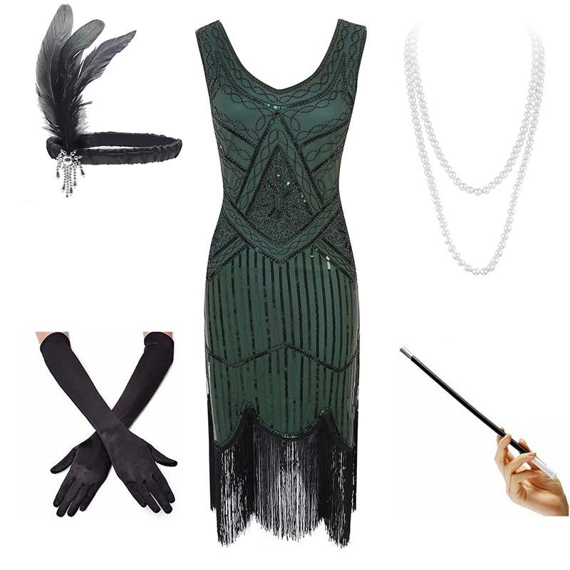 Plus Size 4XL Women's Flapper Dresses 1920s Sequin Beaded Fringed Great Gatsby Dress w/Accessories Set XS-XXXXL