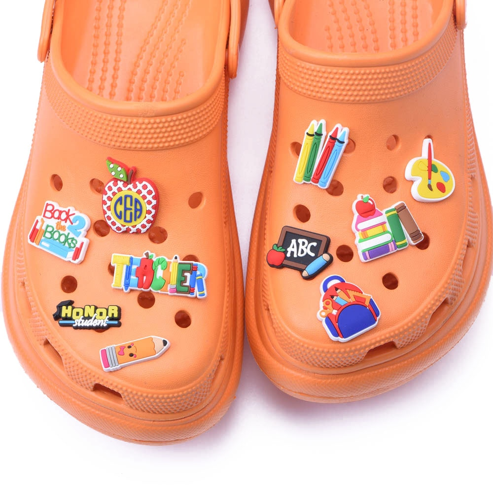 1 PCS School Styles PVC Croc Shoe Charms Accessories Teacher Students Books Pen Decoration for Kids
