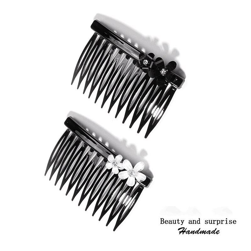 2 peines de pelo elegantes con flores a la moda de 2020 para niñas y mujeres, horquillas vintage con horquilla tipo cangrejo, accesorios coreanos para el cabello