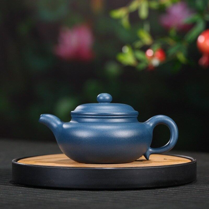 ييشينغ الأرجواني الطين إبريق الشاي ماستر اليدوية الخام خام الأزرق الطين منتج كبير العتيقة إبريق الشاي 280cc مجموعة طقم شاي