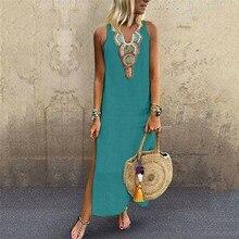 Laamei 2020 Summer Women's Long Dresse Fashion Casual Sleevelesss Maxi Dress Sundress V-Neck Party Dress Bohemian Dress Vestido