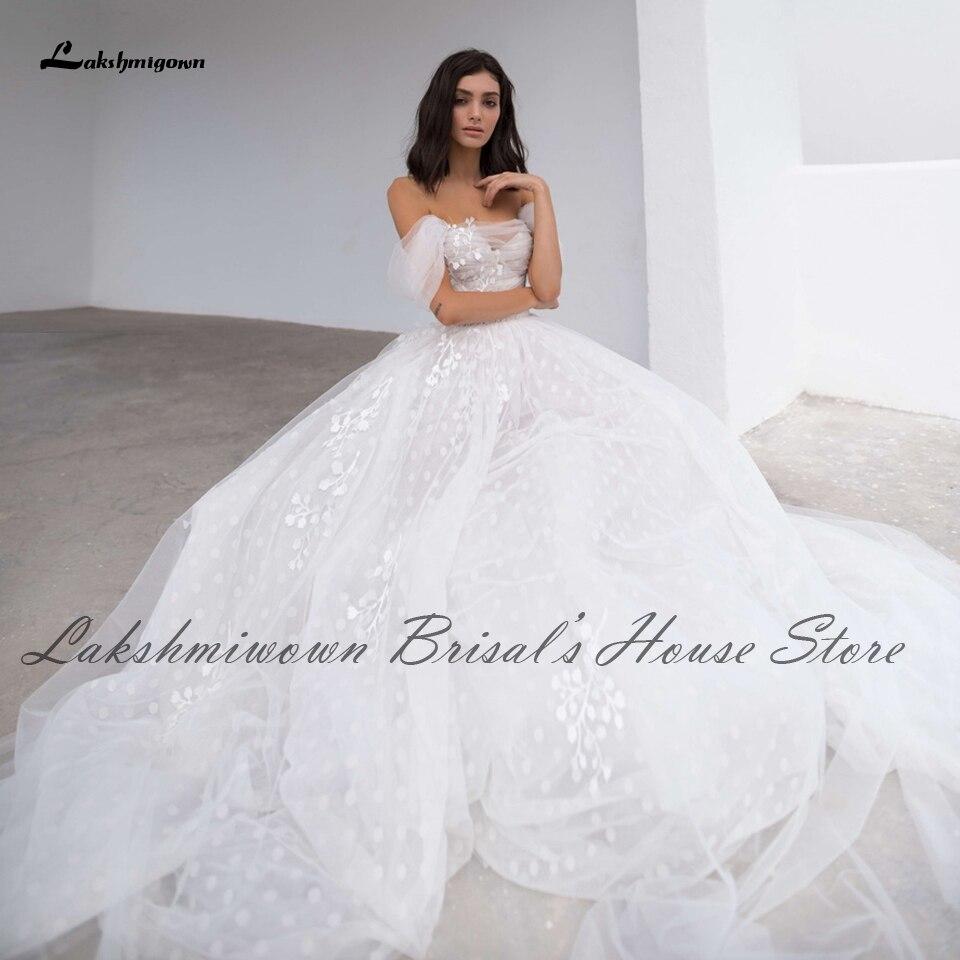 Lakshmigown Encaje Vintage marfil vestido de Boda del hombro de la princesa...