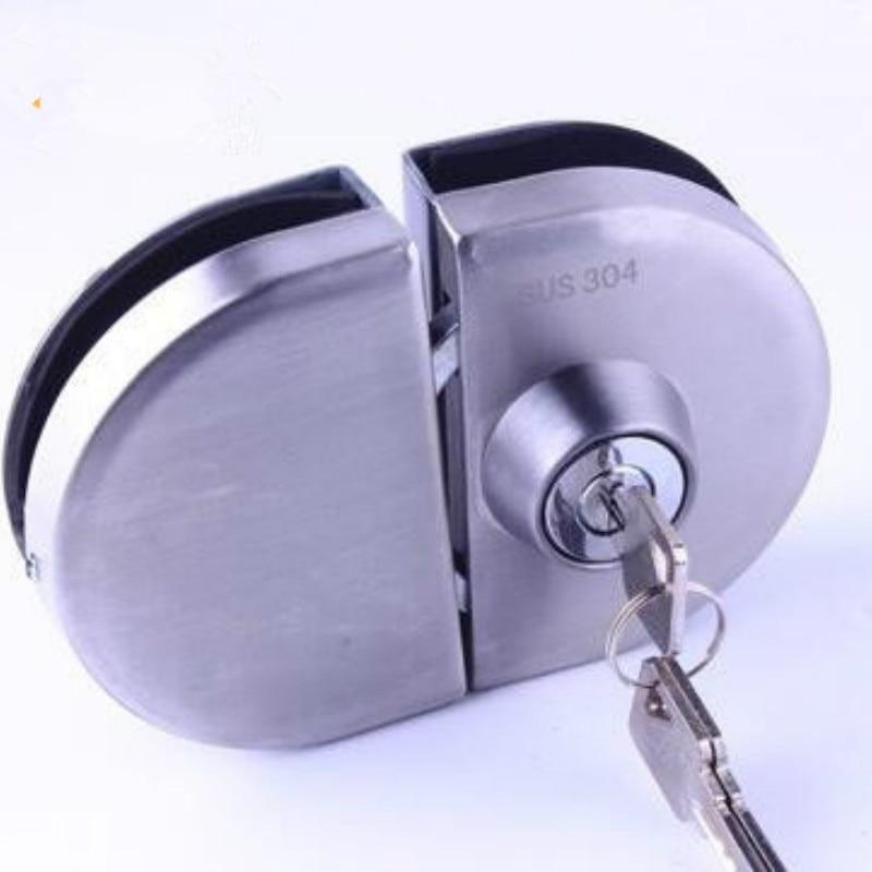 قفل باب زجاجي مزدوج الطبقة 304 الفولاذ المقاوم للصدأ واحد قفل باب زجاجي مفتوح باب غلق بمشبك ل 10-12 مللي متر سمك قفل الباب الزجاجي