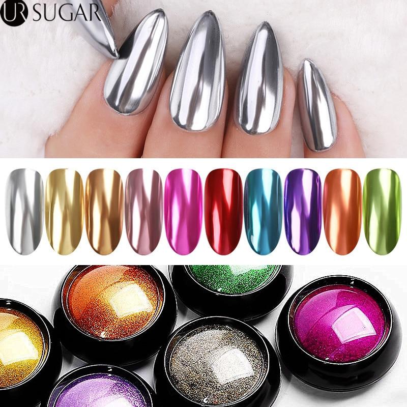 Mirror Nail Glitter Powder Metallic Color Nail Art Chrome Pigment Dust Decorations  Nail Powder  UV Gel DIY
