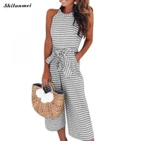 2020 casual long jumpsuit for women polyester sleeveless slim summer striped women jumpsuits with belt drawstring playsuits xl