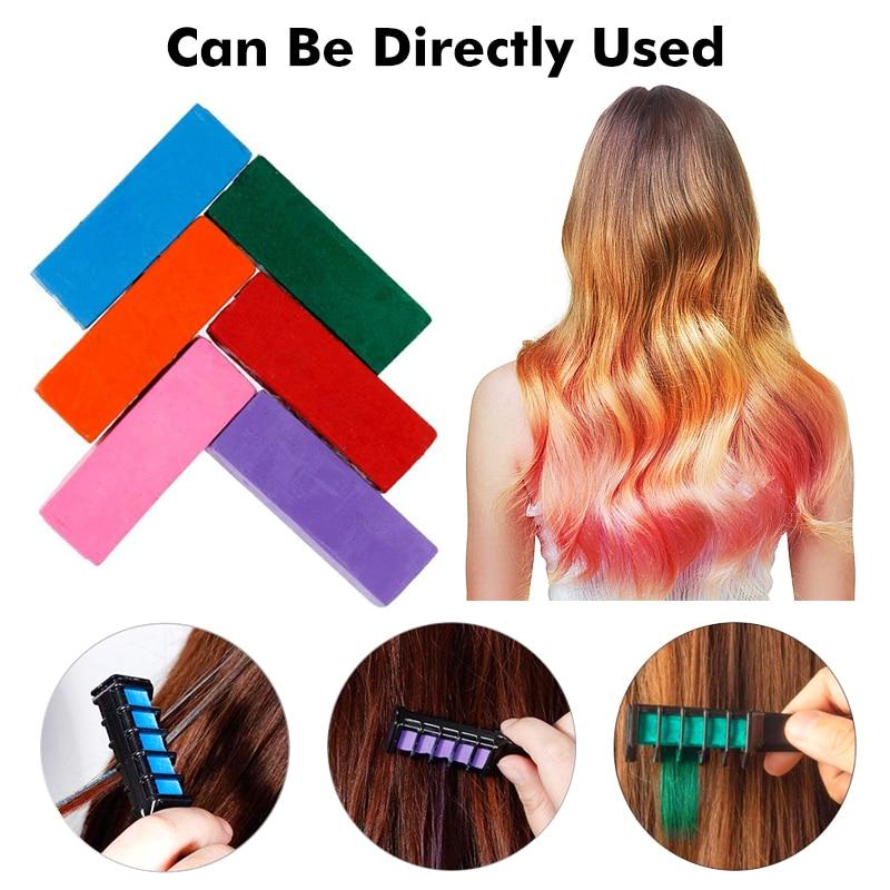 ¡Caliente! Mini peine para tinte de cabello disponible en 6 colores, para uso en salón, crayón de Color púrpura, tiza temporal, herramienta de teñido del cabello TSLM2