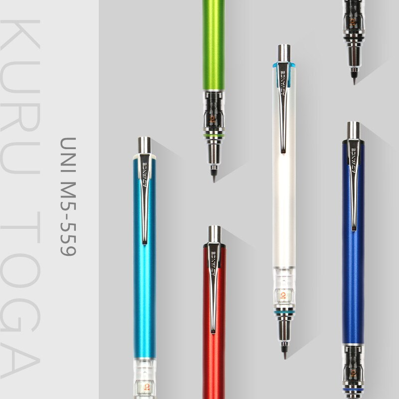 1pc Japan UNI KURU TOGA Series Mechanical Pencil M5-559 Lead Core Automatic Rotation 0.3/0.5mm Student Exam Office Supplies