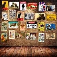 Signes en metal chien chat Shabby Chic animal de compagnie Vintage plaque barre murale cuisine cinema Home Art artisanat decor 30X20CM DU-1718
