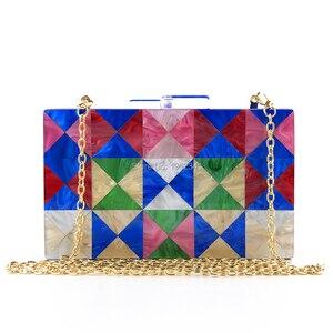 OC4123 Wholesale high qulaity women evening bag multi color handmade party acrylic evening bag