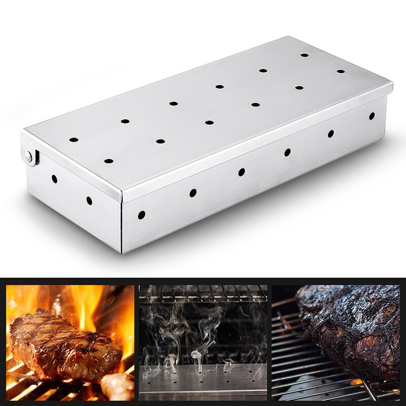 Caja de humo de acero inoxidable, carbón, virutas de madera, generador frío de humo, viruta de madera para fumar carne, barbacoa, parrilla, caja para fumar