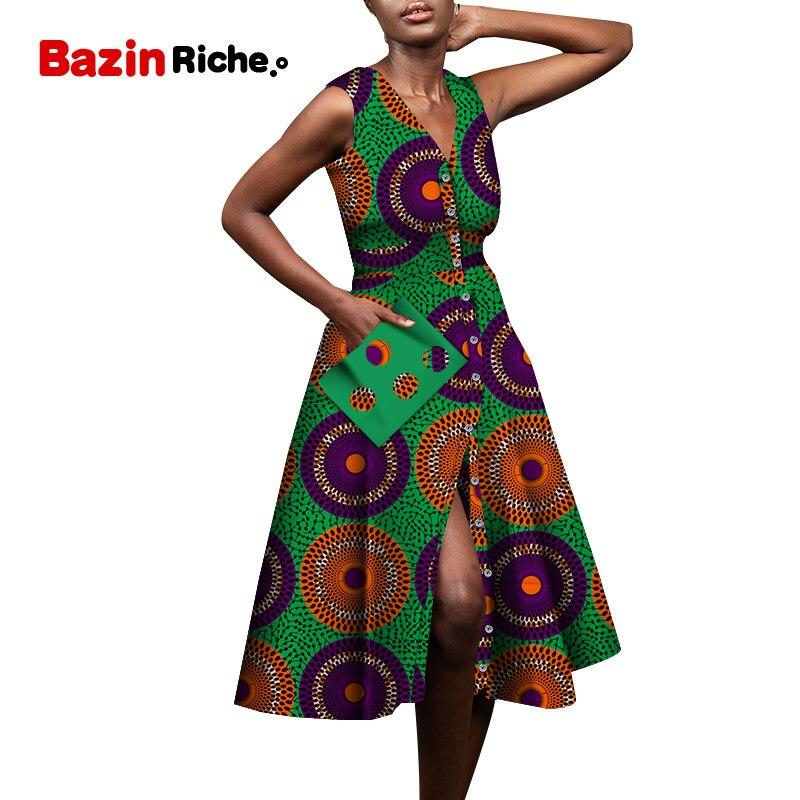 Одежда Youngth Girl Дашики на одной пуговице без рукавов заводская цена поддержка Прямая поставка африканские платья WY7254