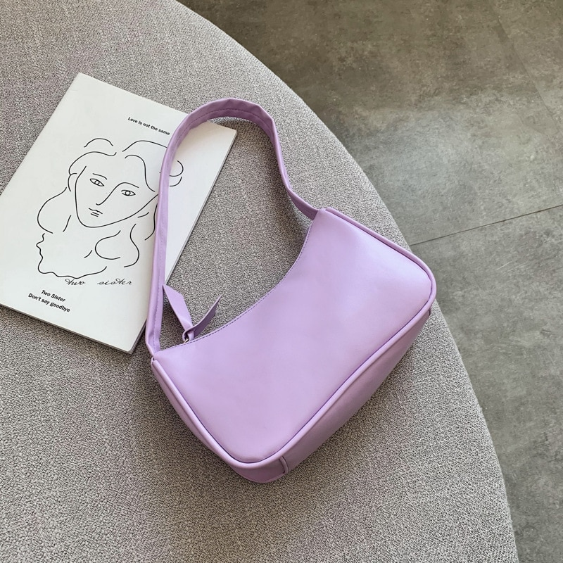 fashion design ladies baguette purse handbags crocodile pattern pu leather women small shoulder bags vintage female underarm bag Soft PU Leather Women Purple Underarm Bag Retro Solid Color Ladies Baguette Handbags Fashion Design Girls Small Shoulder Bags