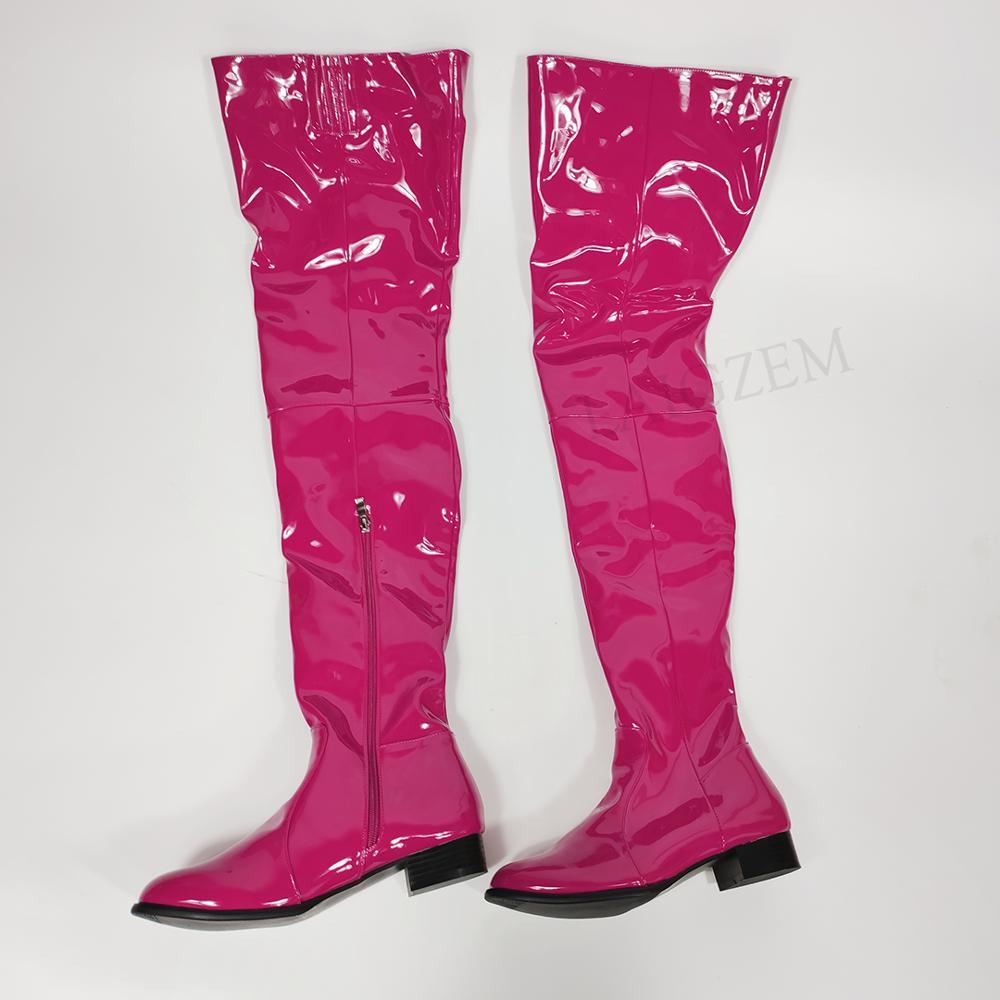 LAIGZEM النساء فوق الركبة أحذية لامعة براءات الجانب البريدي منخفضة حذاء بكعب سميك الفخذ أحذية عالية بوتاس مقاوم للماء حجم كبير 47 50 52