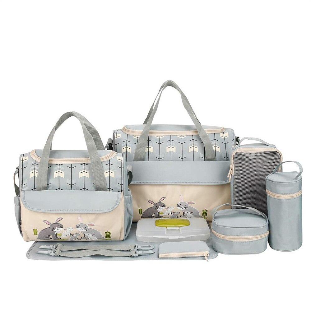 10 قطعة/المجموعة جديد أنماط الأزياء حفاضات حقيبة كبيرة قدرة رسول السفر حقيبة متعددة الوظائف الأمومة الأم الطفل عربة أكياس