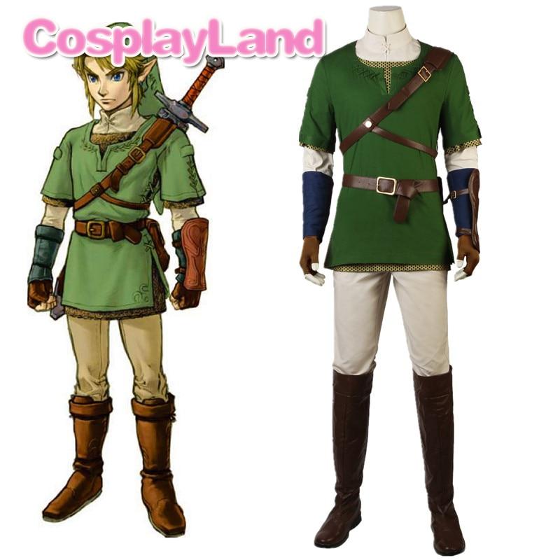 La leyenda de Zelda crepúsculo Príncipe enlace Cosplay disfraces de Halloween para hombres adultos traje con botas enlace traje