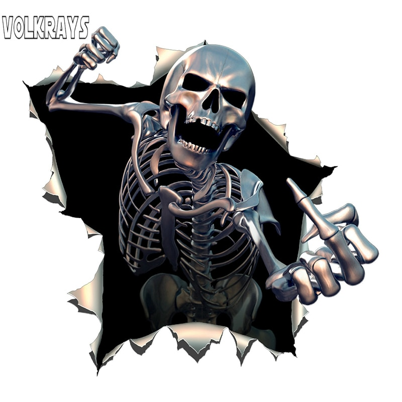 Volkrays pegatina de coche creativa Metal Angry esqueleto cráneo esqueleto con barba Premium Funny Auto calcomanías vinilo, 15cm * 15cm