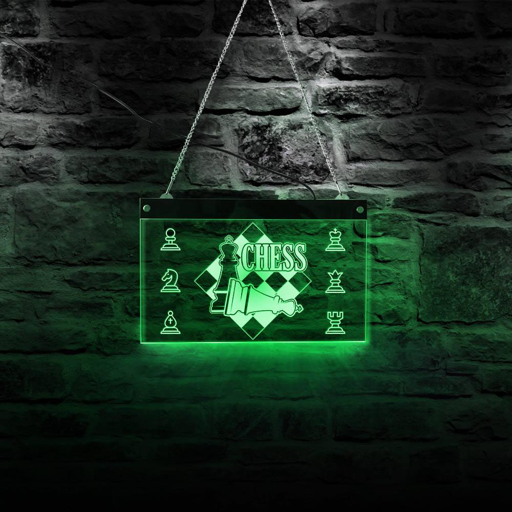 Sala de xadrez sinais decorativos display elétrico led placa de iluminação peças de xadrez internacionais jogo parede luz xadrez mestre presente