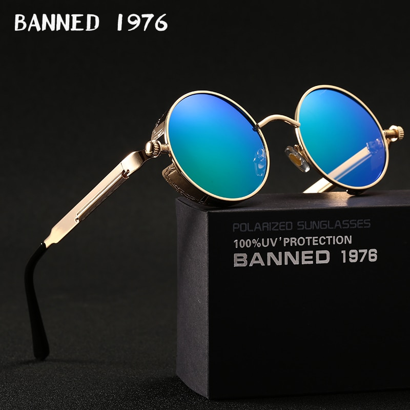 2019 HD polarized round metal sunglasses uv400 men's sun glasses feminin women's vintage gafas de sol metal GOGGLES with box