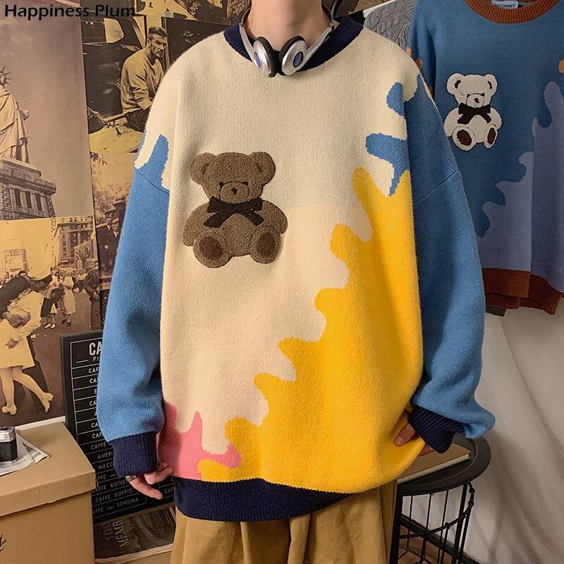 سترة هاراجوكو الدب الشتويه الرجالية الدافئة السميكة المحبوكة بلوفرات 2021 الكورية نمط الأزواج سترة الهيب هوب الملابس