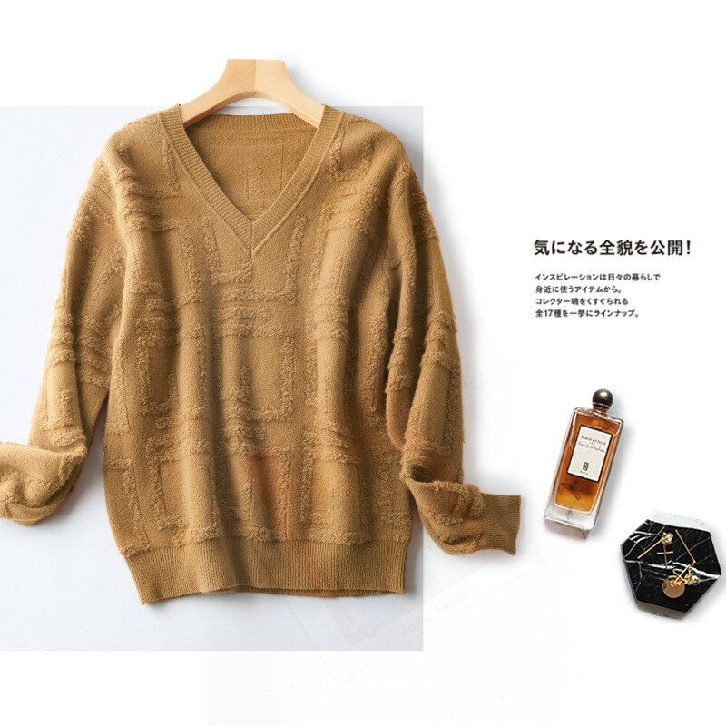 Shuchan Appliques Wool Knit Sweater Pullover Autumn Winter New 2021 Thick V-Neck Fall Clothes for Women Long Sleeve Warm Tops enlarge