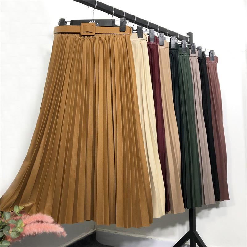 Юбки, женская яркая шелковая юбка, осень и зима, юбка А-силуэта средней длины, плиссированная юбка, Плотная юбка в виде юбки, длинная юбка юбки trussardi юбка