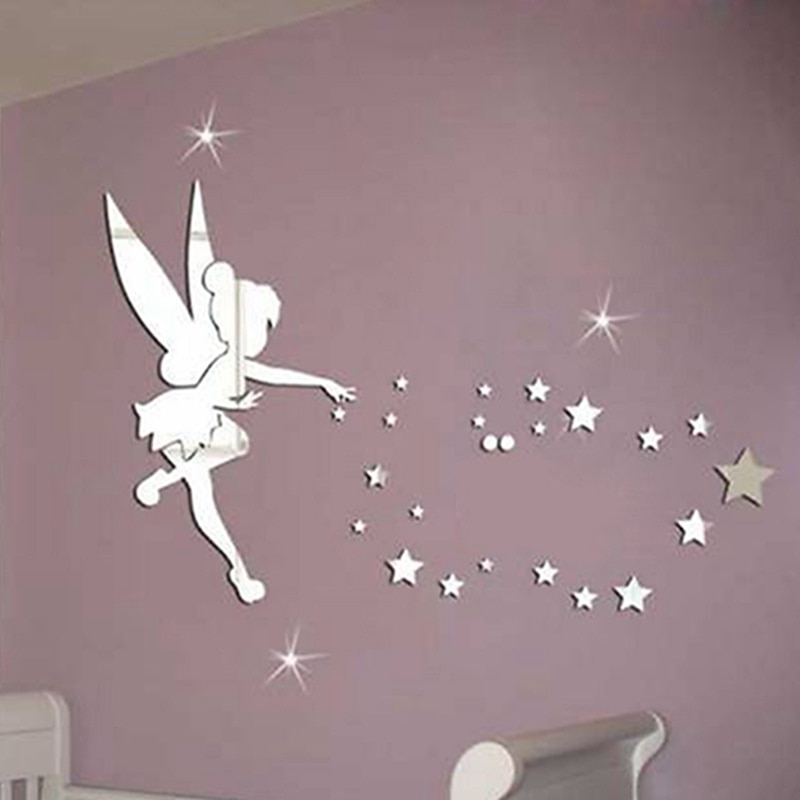 Pegatinas de pared plateadas/doradas en 3D, pegatinas de pared con superficie de espejo de hadas y estrellas, pegatinas de pared con espejo de Ángel DIY en el mundo