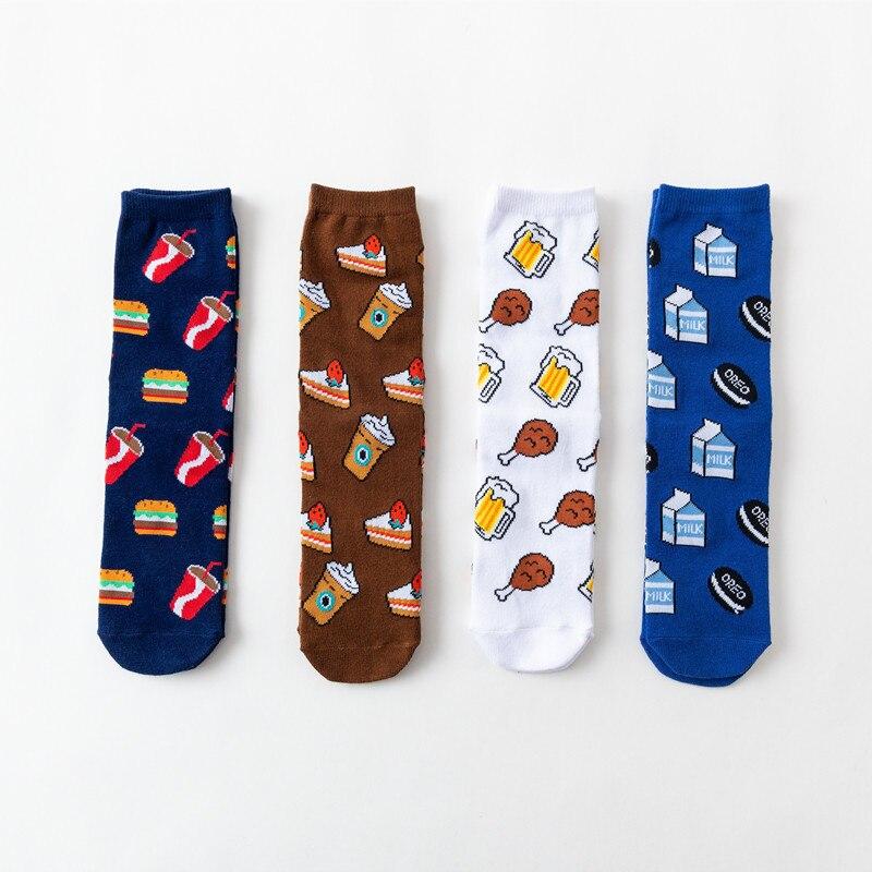 2020 nuevos calcetines divertidos para hombres y mujeres creativo coreano dibujos animados Cola hamburguesa frito pollo cerveza patrón algodón Unisex