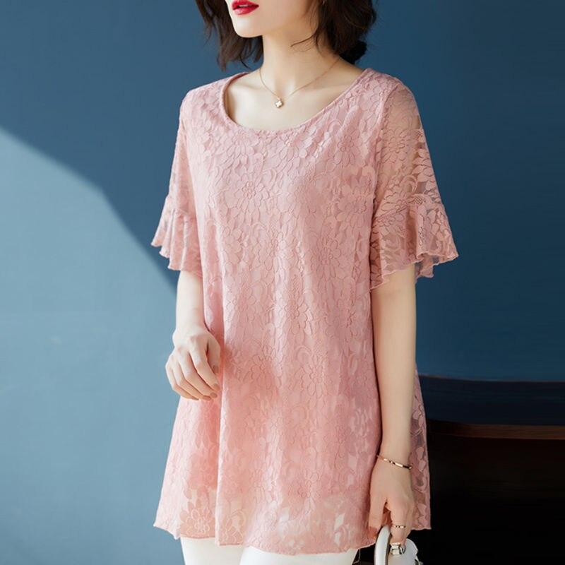 Frauen sommer spitze blusen kurzarm casual oansatz solide tops casual hohe qualität spitze frauen shirts