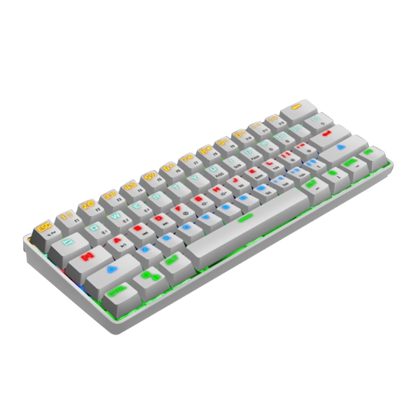 F19E جهاز متعدد بلوتوث متوافق مع RGB الميكانيكية اللاسلكية/السلكية لوحة مفاتيح ميكانيكية صغيرة ، 61 مفاتيح بلوتوث-متوافق