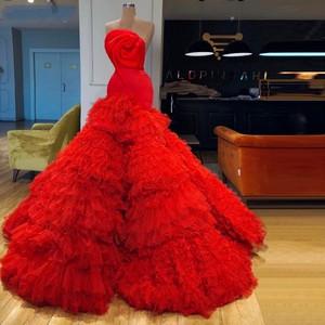 Evening Dresses Gorgeous Long Vestido De Festa Red Evening Dress Elegant robe de soiree Dubai Arabian Party Gowns Evening