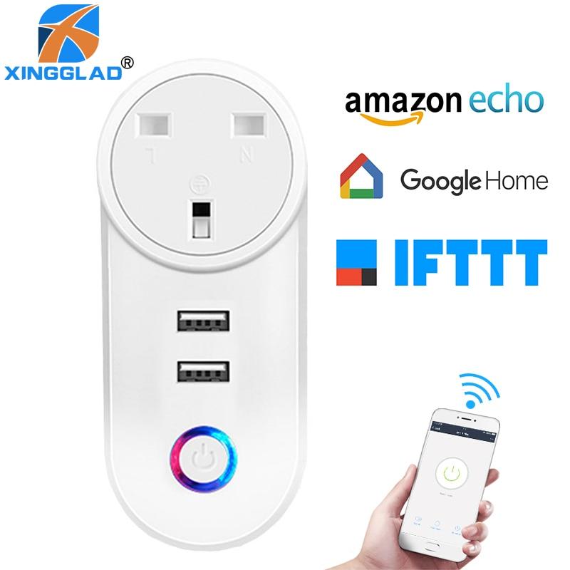 Enchufe doméstico inteligente Wifi, Control remoto, interruptor de sincronización, enchufe de Reino Unido, toma de Corriente inalámbrica, 2 USB, temporizador, Adaptador de Corriente