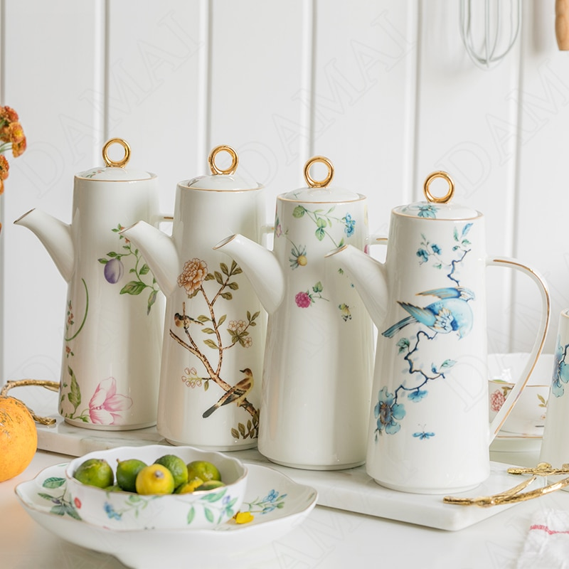 الزهور السيراميك زجاجات زيت زيتون مع غطاء الريفية الرجعية الديكور الخزف صلصة الصويا إبريق زجاجي التوابل الحاويات أدوات مطبخ