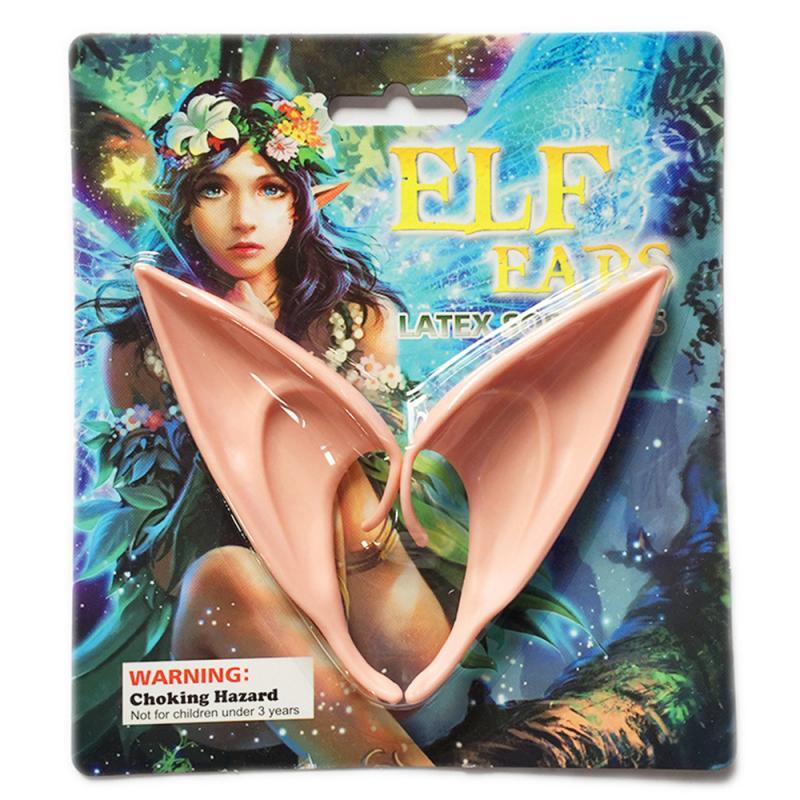 1Pair Halloween Latex Elf Ears High Simulation Soft Harmless False Ears Props Fairy Angel Dress Up Cosplay Hook Christmas Decor