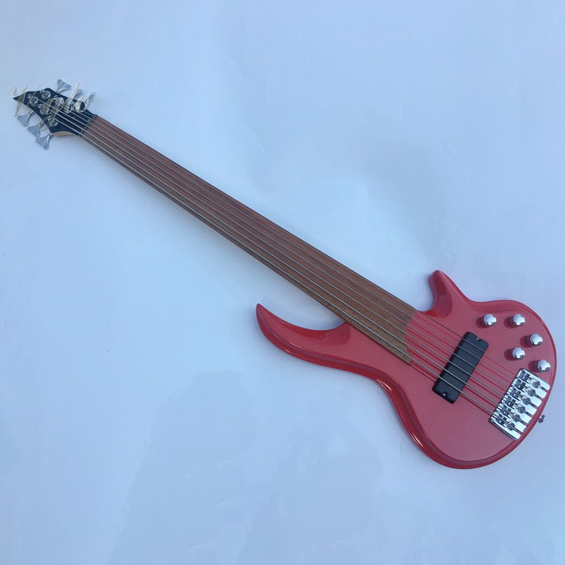6 string fretless electric bass guitar stock bass guitar high gloss finish red and black 43 inch bas