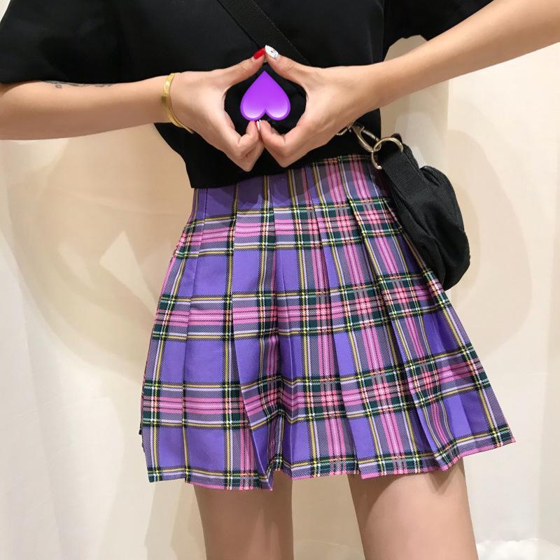 Minifalda de verano a cuadros con corte en a japonesa Kawaii para mujer, uniforme escolar de marinero, faldas casuales bonitas para mujer