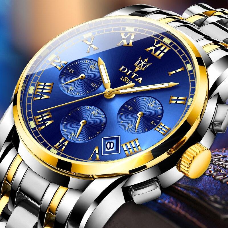 Reloj de pulsera DITAWATCH WReloj de lujo para Hombre, reloj de cuarzo con diamantes de acero inoxidable para Hombre, reloj con fecha y semana