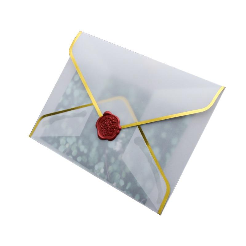 50Pcs / Set of Hot Stamping Paper Envelopes Transparent Paper Envelopes Wedding Invitation Anniversary