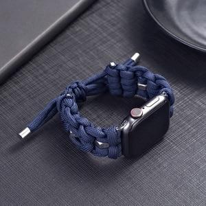 For Apple Watch 5 4 42mm 44mm Nylon Umbrella Cord Watchbands  iwatch 3 2 1 38mm 40mm Apple Bracelet Strap
