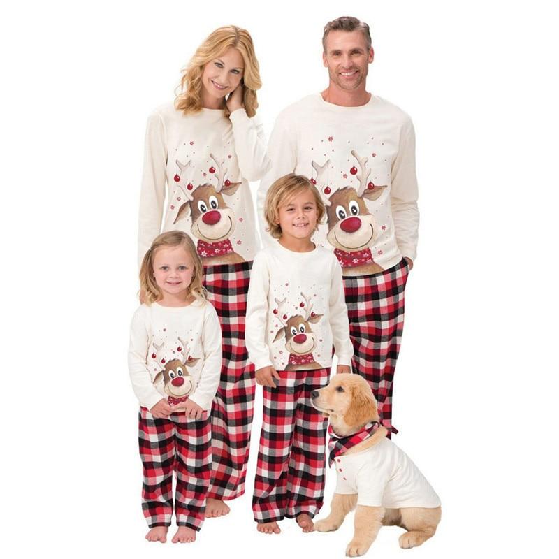 Família combinando roupas de natal pijamas conjunto natal pjs adulto crianças bonito festa pijamas dos desenhos animados veado pijamas 2020