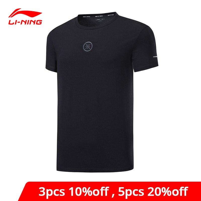 Li-Ning, мужская Трикотажная футболка из 95% хлопка, 5% спандекса, дышащая, с подкладкой, li ning, удобные спортивные футболки ATSP109 MTS3069