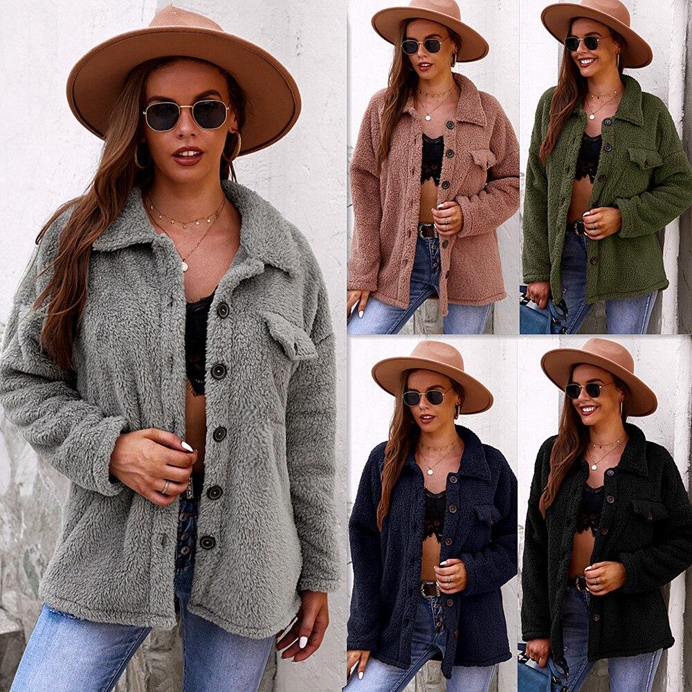 منتجات جديدة على الموضة 2021 السيدات الشتاء جاكيت من الصوف فضفاضة السيدات البلوز الدافئة ومريحة لينة السيدات البلوز
